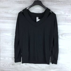 Go Couture V-Neck Cold Shoulder Hacci Sweater